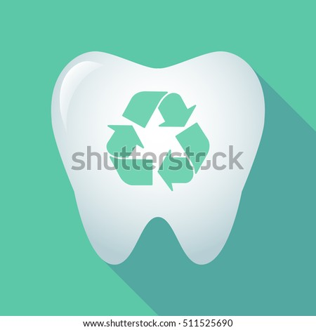 Illustration of a long shadow tooth icon with a recycle sign