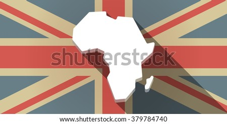 Illustration of a long shadow UK flag icon with  a map of the african continent - stock vector