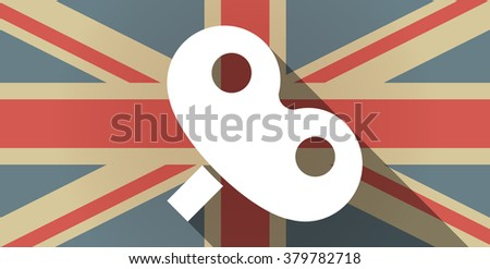 Illustration of a long shadow UK flag icon with a toy crank