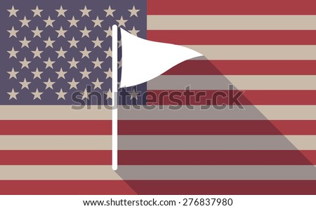 Illustration of a long shadow USA flag icon with a flag - stock vector