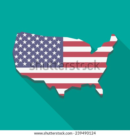 Illustration of a long shadow USA map icon - stock vector