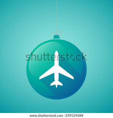 Illustration of a long shadow vector christmas ball icon with a plane - stock vector