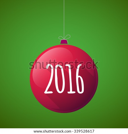 Illustration of a long shadow vector christmas ball icon with a 2016 sign