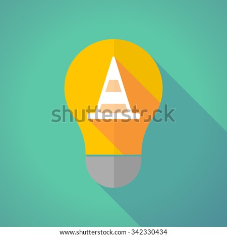 Illustration of a long shadow vector light bulb with a road cone