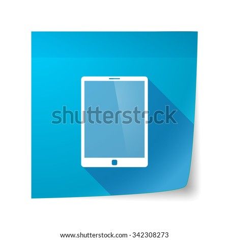 Illustration of a long shadow vector sticky note icon with a tablet computer