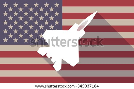 Illustration of a long shadow vector USA flag icon with a combat plane