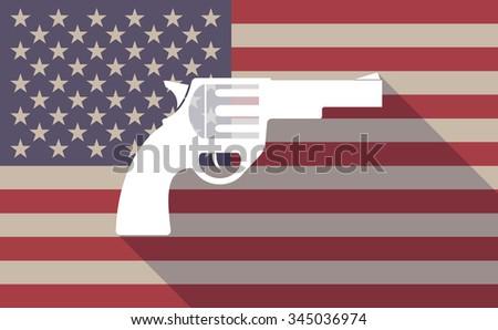 Illustration of a long shadow vector USA flag icon with a gun - stock vector