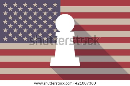 Illustration of a long shadow vector USA flag icon with  a  pawn chess figure - stock vector