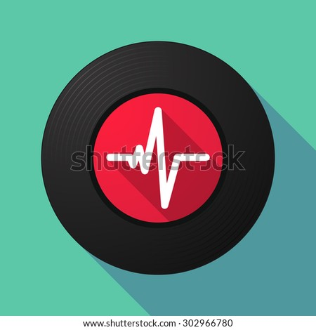 Illustration of a long shadow vinyl record with a heart beat sign - stock vector