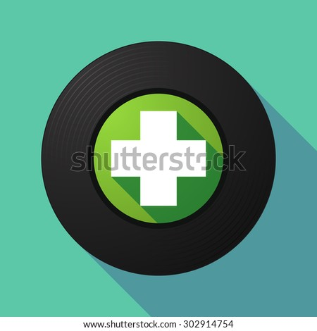 Illustration of a long shadow vinyl record with a pharmacy sign - stock vector
