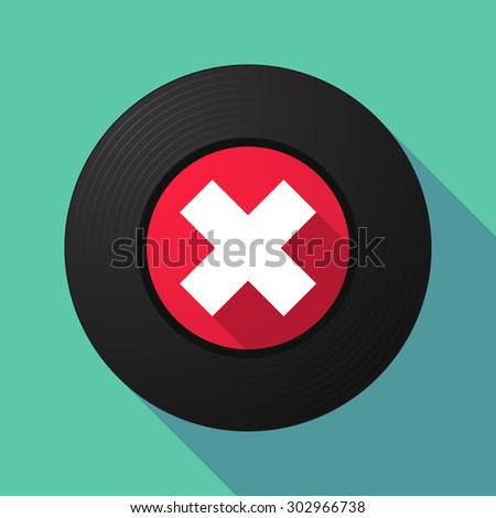 Illustration of a long shadow vinyl record with an x sign - stock vector
