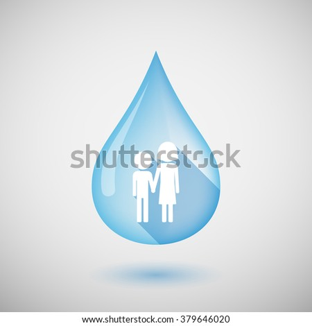 Illustration of a long shadow water drop icon with a childhood pictogram - stock vector
