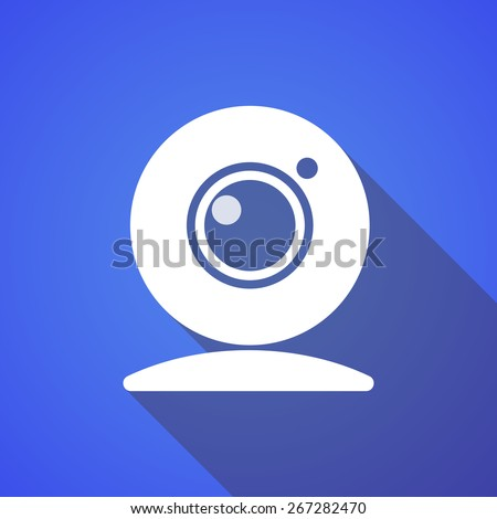 Illustration of a long shadow web cam icon - stock vector