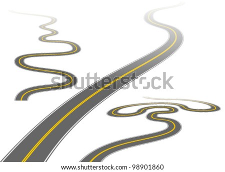 Illustration of a long, winding roads disappearing into the distance. - stock vector