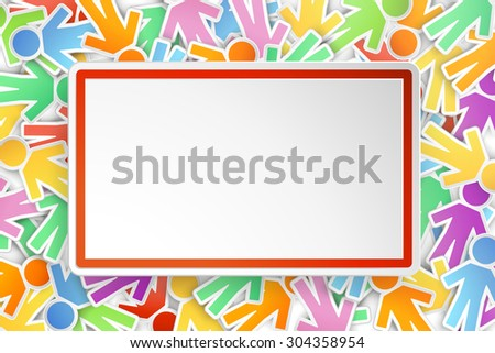 illustration of a lot of different color paper peoples on background with paper card in front - stock vector
