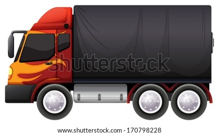 Illustration of a luggage truck on a white background - stock vector