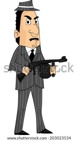 Illustration of a Mafia Member Holding a Machine Gun - stock vector
