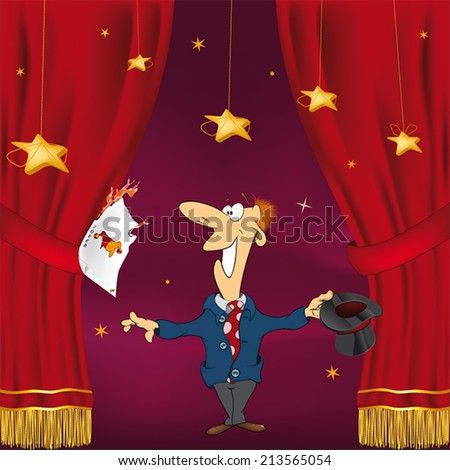 Illustration of a magician with a playing cards  - stock vector