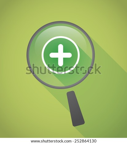 Illustration of a magnifier icon with a sum sign - stock vector