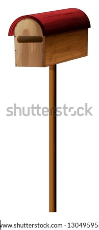Illustration of a mailbox made of wood on a white background