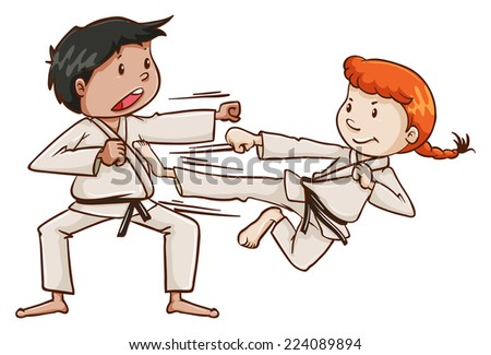 Illustration of a male and a female doing martial arts on a white background  - stock vector