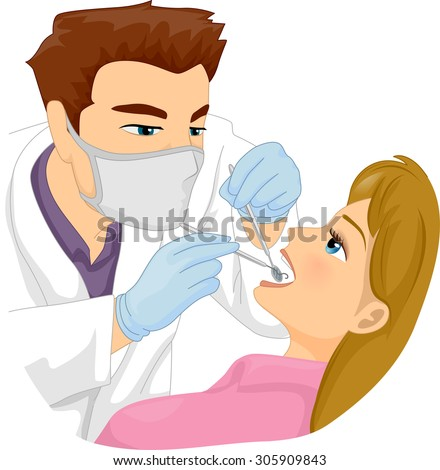 Illustration of a Male Dentist Working on a Patient's Tooth