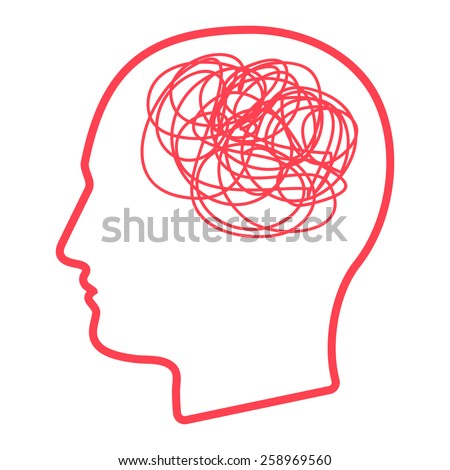 Illustration of a male head icon with a doodle - stock vector