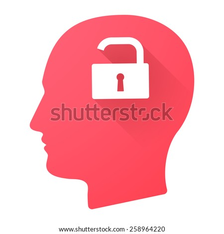 Illustration of a male head icon with a lock pad - stock vector