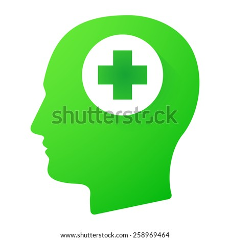 Illustration of a male head icon with a pharmacy sign - stock vector