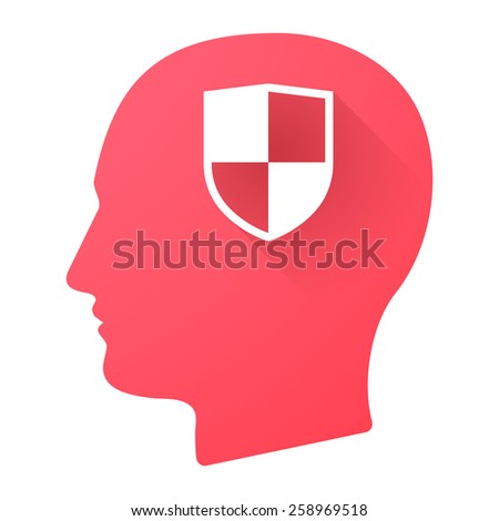 Illustration of a male head icon with a shield - stock vector