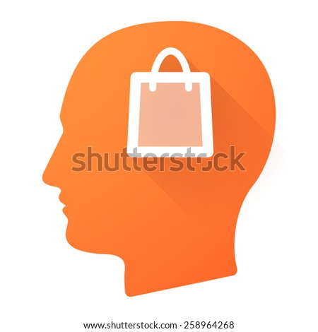 Illustration of a male head icon with a shopping bag - stock vector