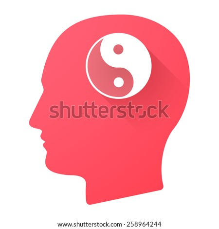 Illustration of a male head icon with a ying yang - stock vector