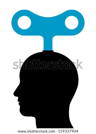 Illustration of a male head with a wind-up key protruding from the top depicting mechanical or manual power and energy, manipulation or control, or conceptual of inspiration and motivation - stock vector