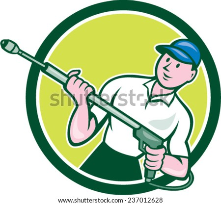 Illustration of a male pressure washing cleaner worker holding a water blaster viewed from front set inside circle shape on isolated background done in cartoon style.  - stock vector