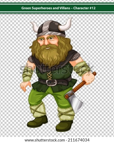 Illustration of a male viking warrior with axe - stock vector