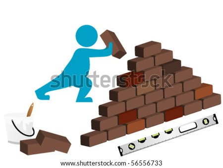 Illustration of a man building with level, bucket and wall - stock vector
