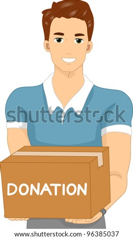 Illustration of a Man Carrying a Donation Box