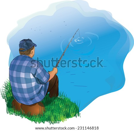 Illustration of a man fishing on the shore - stock vector