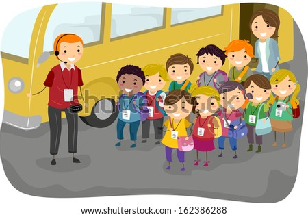 Illustration of a Man Giving Instructions to Kids on a Field Trip - stock vector