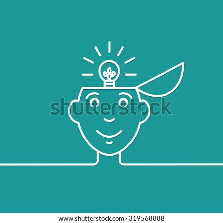 Illustration of a man having a great idea. - stock vector