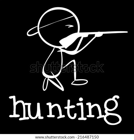 Illustration of a man hunting - stock vector