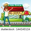 Illustration of a man in front of the burger stand - stock vector