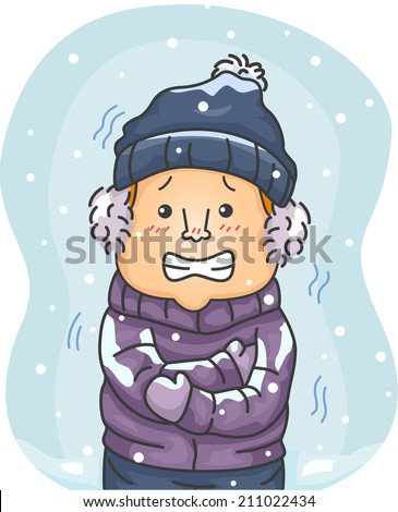 Illustration of a Man in Winter Clothes Shivering Hard Because of the Cold - stock vector