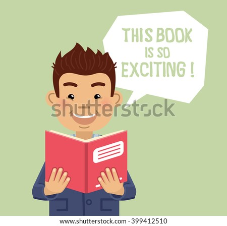 Illustration of a man reading a book - stock vector