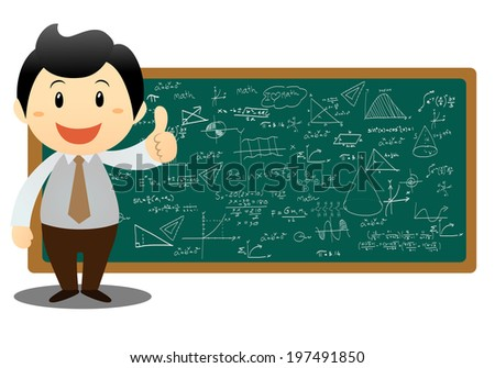 illustration of a man showing graph and math on a white background - stock vector