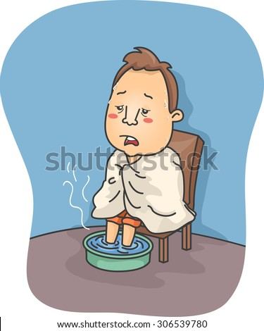 Illustration of a Man Sick with Flu Soaking His Feet in Hot Water - stock vector
