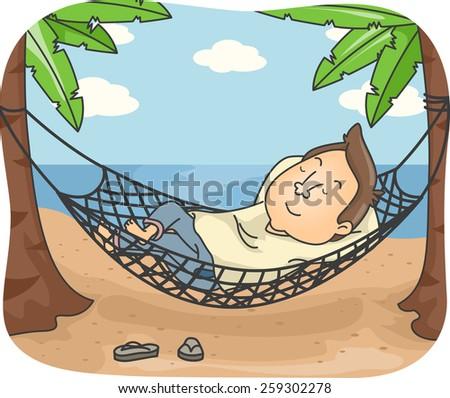 Illustration of a Man Sleeping on a Hammock by the Beach - stock vector