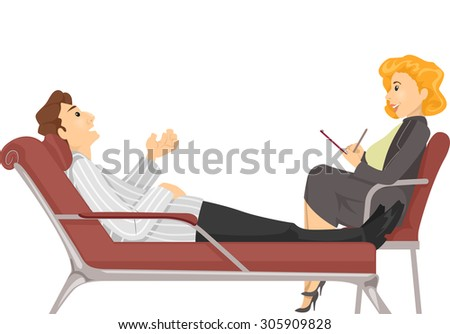 Illustration of a Man Talking to His Psychologist - stock vector