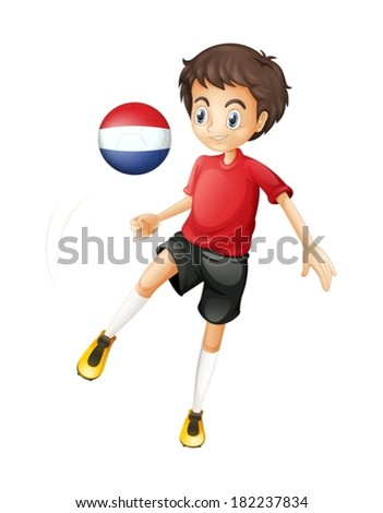 Illustration of a man using the ball with the flag of Netherlands on a white background - stock vector