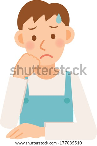Illustration of a man wearing an apron - stock vector